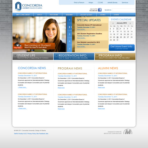 Concordia Website Main Page Options
