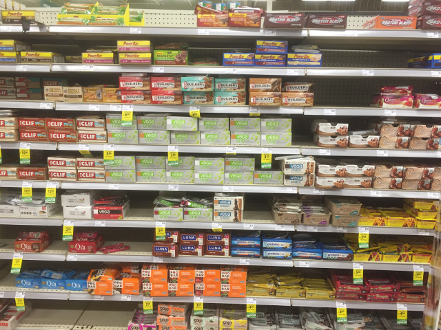 Protein Bars on Shelf